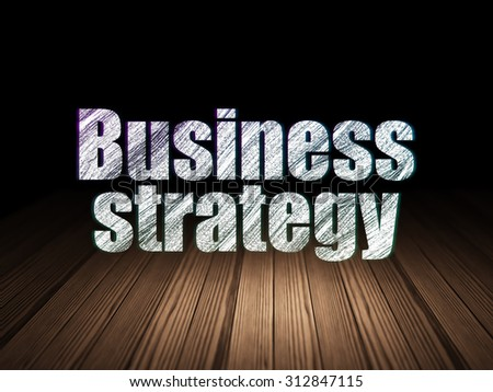 Business concept: Glowing text Business Strategy in grunge dark room with Wooden Floor, black background