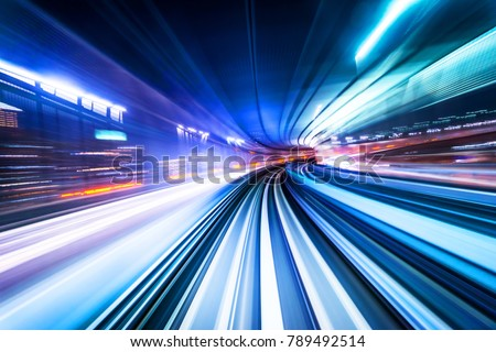 Business concept - high speed abstract MRT track of motion light for background in tokyo, japan