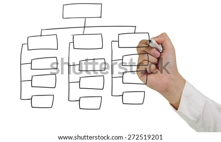 Business concept image of a hand holding marker and draw empty Structure Diagram isolated on white