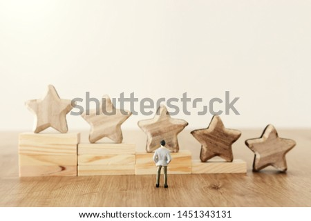 business concept image of setting a five star goal. increase rating or ranking, evaluation and classification idea #1451343131