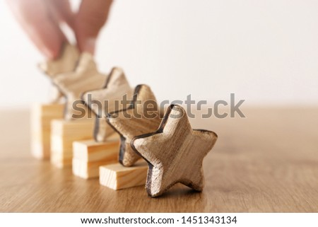 business concept image of setting a five star goal. increase rating or ranking, evaluation and classification idea #1451343134