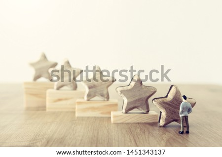business concept image of setting a five star goal. increase rating or ranking, evaluation and classification idea #1451343137