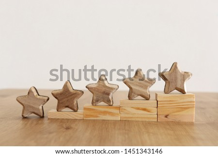 business concept image of setting a five star goal. increase rating or ranking, evaluation and classification idea #1451343146