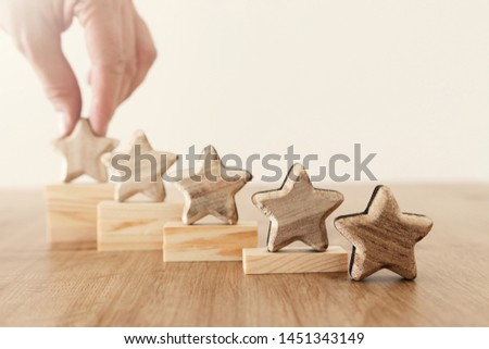 business concept image of setting a five star goal. increase rating or ranking, evaluation and classification idea #1451343149