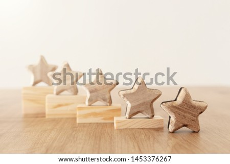 business concept image of setting a five star goal. increase rating or ranking, evaluation and classification idea #1453376267