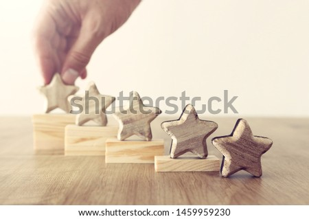 business concept image of setting a five star goal. increase rating or ranking, evaluation and classification idea #1459959230