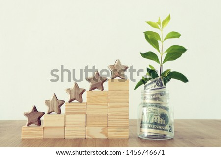business concept image of setting a five star goal. increase rating or ranking, evaluation, money investment and financial growth concept #1456746671