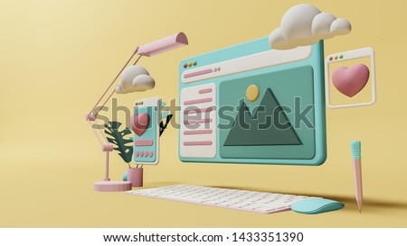 Business concept ,  Interface symbols. Cloud computing connecting technology devices 3D rendering