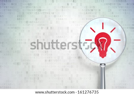 Business concept: magnifying optical glass with Light Bulb icon on digital background, empty copyspace for card, text, advertising, 3d render