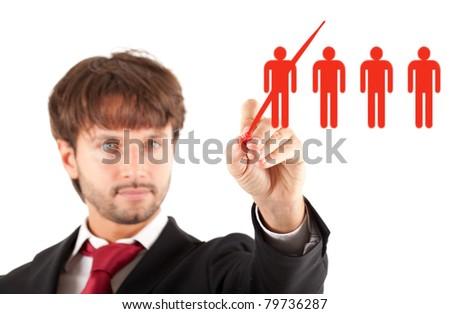 Business concept: manager firing a worker