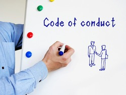 Business concept meaning Code of conduct with sign on the page.