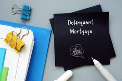 Business concept meaning Delinquent Mortgage with phrase on the piece of paper.