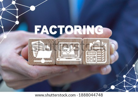 Business concept of factoring. Modern marketing financial relationship - deferment of payment service. Foto stock ©