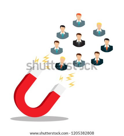 Business concept of hand hold magnet attract leads . Illustration
