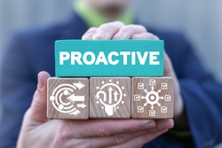 Business concept of proactive businessman. Proactive or reactive solution initiative.