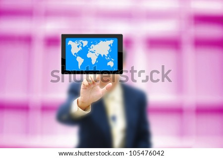 Business concept on modern computer screen with business man on pink purple background.