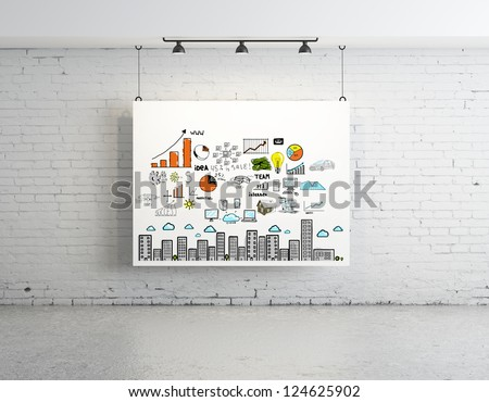 business concept on poster in brick room