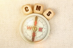 Business concept. On the table is a compass and cubes with the inscription - CMS