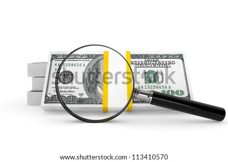 Business concept. One hundred dollars and Magnifying glass on a white background