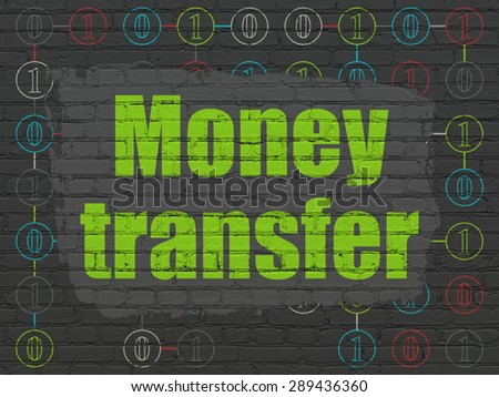 Business concept: Painted green text Money Transfer on Black Brick wall background with Scheme Of Binary Code, 3d render