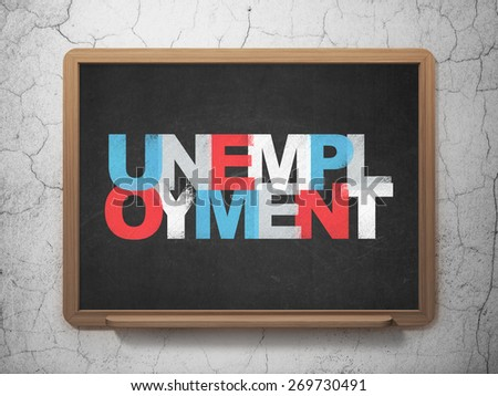 Business concept: Painted multicolor text Unemployment on School Board background with  , 3d render #269730491