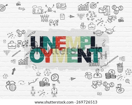 Business concept: Painted multicolor text Unemployment on White Brick wall background with Scheme Of Hand Drawn Business Icons, 3d render