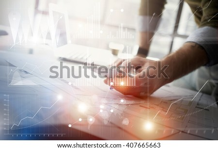 Business concept picture.Finance manager working new startup project modern office.Touching contemporary smartphone. Worldwide connection technology,stock exchanges graphics interface. Horizontal