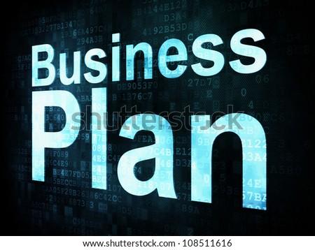 Business concept: pixelated words Business Plan on digital screen, 3d render