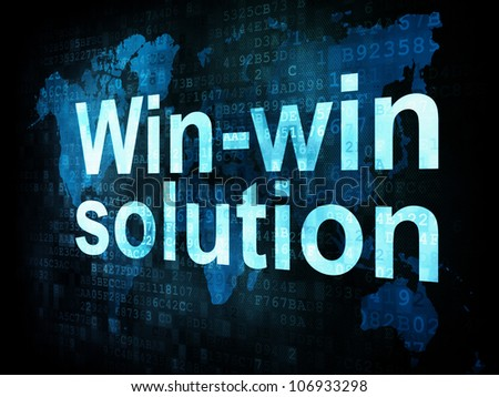 Business concept: pixelated words Win win solution on digital screen, 3d render - stock photo
