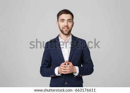 Business Concept - Portrait Handsome Business man holding hands with confident face. White Background.