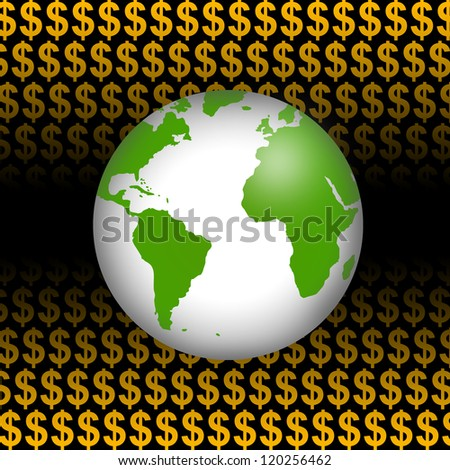 Business Concept Present by Green Globe In Orange Dollar Sign Background