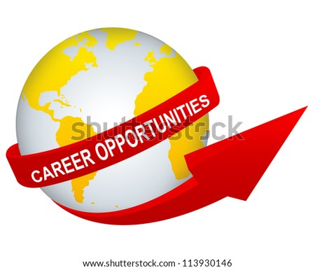 Business Concept Present By Red Career Opportunities Arrow Around The Yellow World Isolated on White Background