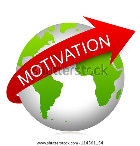 Business Concept Present By Red Motivation Arrow On The Green Globe Isolated On White Background