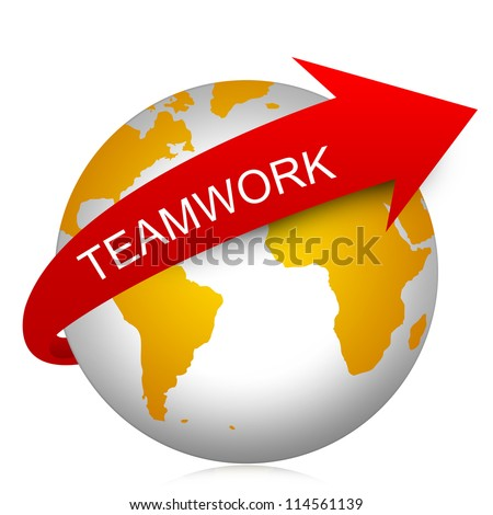 Business Concept Present By Red Teamwork Arrow On The Yellow Globe Isolated On White Background