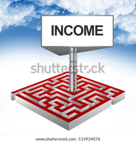 Business Concept Present By The Maze And The Highway Billboard With Income Text Against A Blue Sky Background