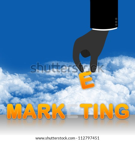 Business Concept Present With Hand Carrying E Letter in Marketing Text in Blue Sky Background - stock photo
