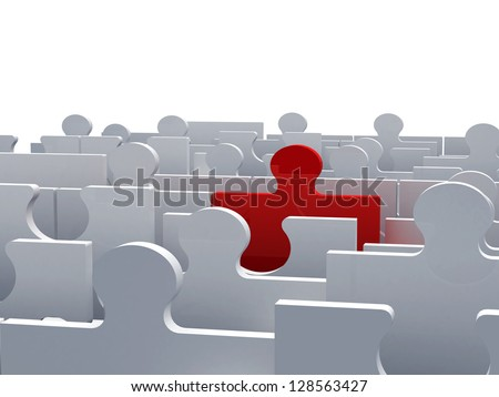 Business concept, red jigsaw puzzle piece standing out from the crowd, isolated on white background.