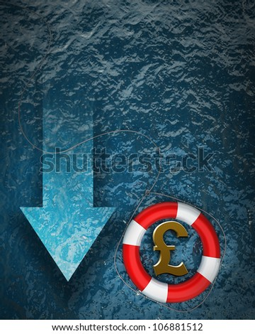 Business concept Red life buoy with a British pound symbol in the water High resolution