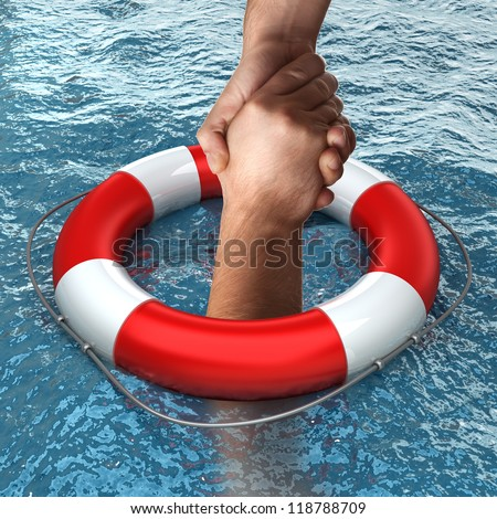 Business concept Red life buoy with hands in the water High resolution