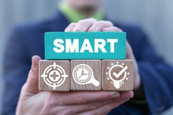 Business concept SMART Goal Setting. Efficient project management method as acronym of specific, measurable, achievable, relevant and timed.