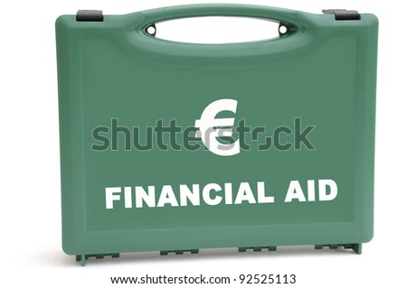 Business concept to illustrate a euro financial rescue package, using a first aid box.