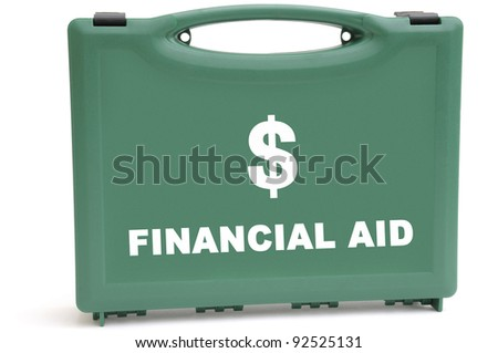 Business concept to illustrate a financial rescue package, using a first aid box.