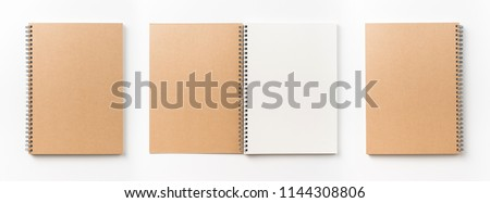 Business concept - Top view collection of  spiral kraft notebook front, back and white open page isolated on background for mockup #1144308806