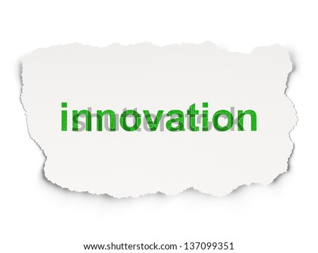 Business concept: torn paper with words Innovation on Paper background, 3d render