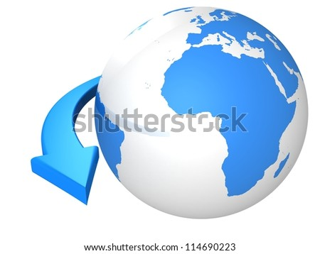 business concept with blue globe sphere and arrow