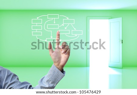 Business concept with business hand on green empty room open door  background.
