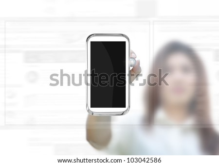 business concept with business person , modern style, Blank mobile phone.