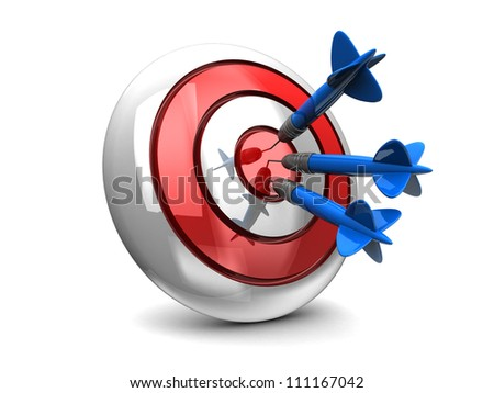 Business concept with 3d darts in bullseye