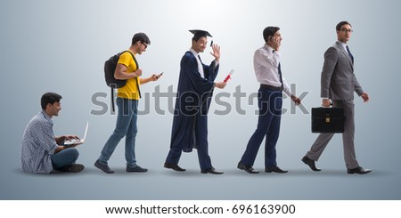 Business concept with man progressing through stages #696163900
