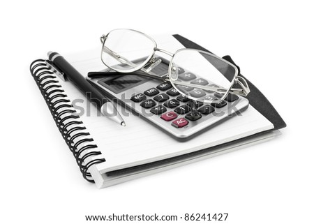 Business concept with notebook and calculator